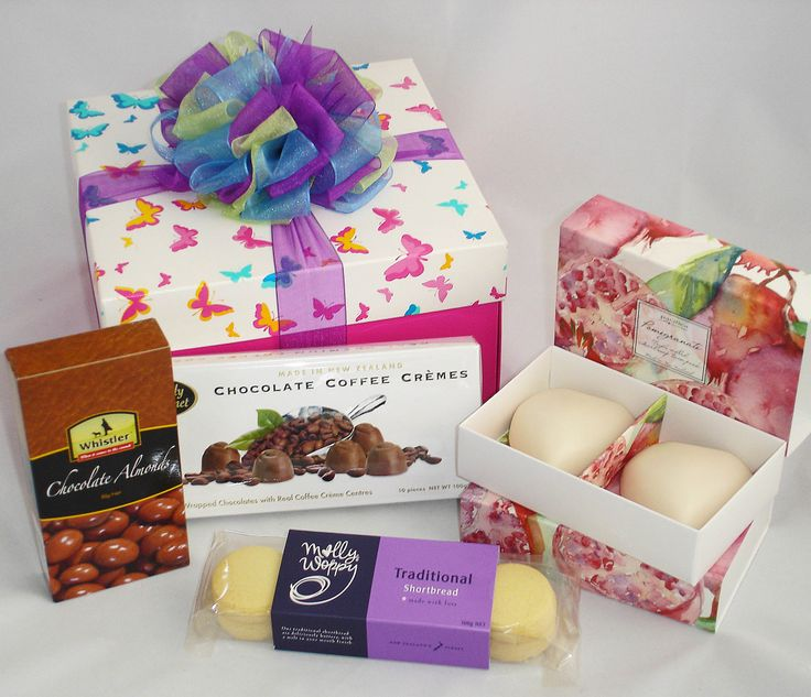 Mother's Day Gift, pomegranate scented soaps (heart shape), chocolates, shortbread cookies, chocolate covered almonds. Gift wrapped in tissue inside beautiful butterfly printed gift box. NZ$47 #mothers_day_gifts, #Auckland_gift_baskets