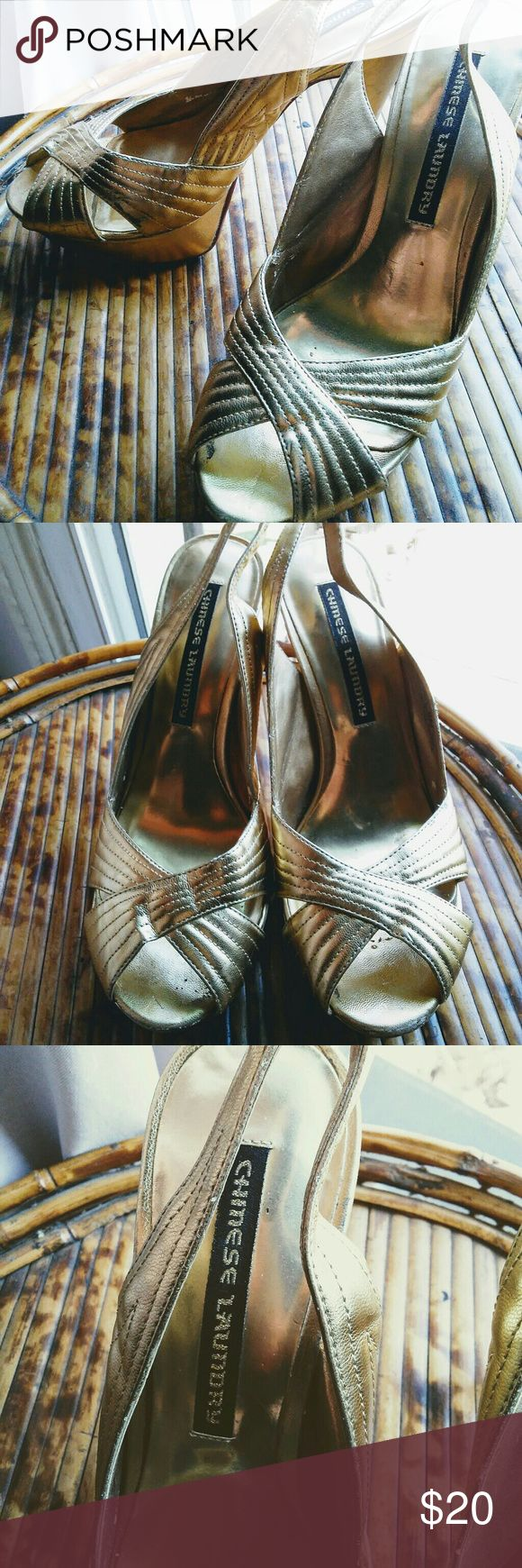 Gold Hollywood Glam Heels Gold Chinese laundry hollywood glam shoes! Has some blemishes and scratches worst mark on back of heel! Size 9 very comfortable to wear! Chinese Laundry Shoes Heels