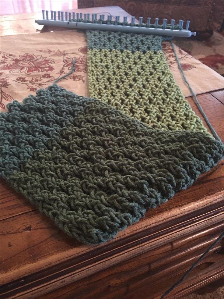Loom knit scarf, honeycomb stitch. #loopsbyrobyn