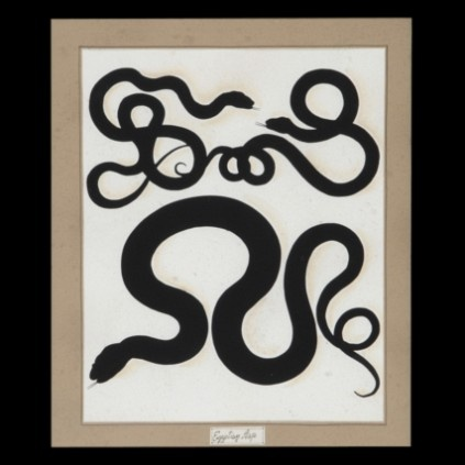 Elegant arabesques in the shape of snakes characterize these beautiful intaglio prints in black and white, hand watercolored, perfect for sophisticated