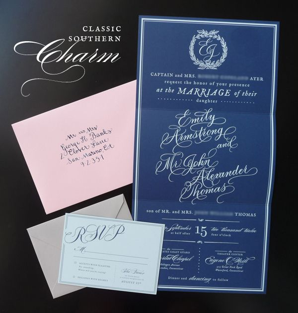 Southern inspired navy and powder blue calligraphy wedding invitations
