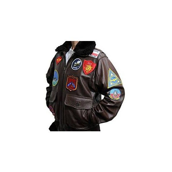 Top Gun Tom Cruise Men Fighter Jet Pilot Brown Fur Best Quality... via Polyvore featuring men's fashion, men's clothing, men's outerwear, men's jackets, mens brown leather jacket, mens fur jacket, mens jackets and mens patch jacket