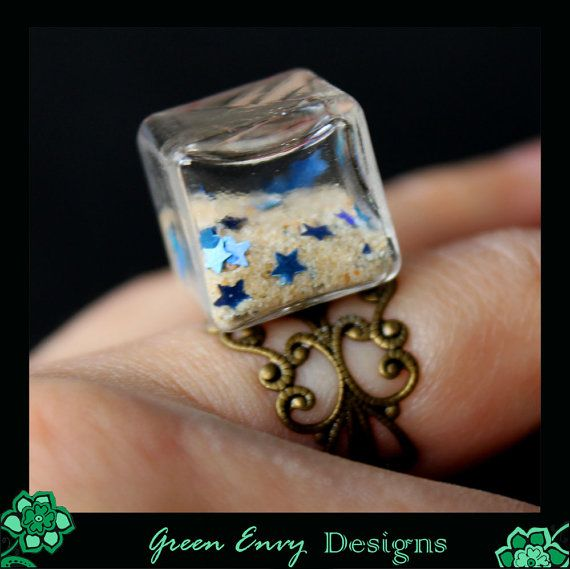 Hollow glass dome ring: sandstars by GreenEnvyDesigns on Etsy