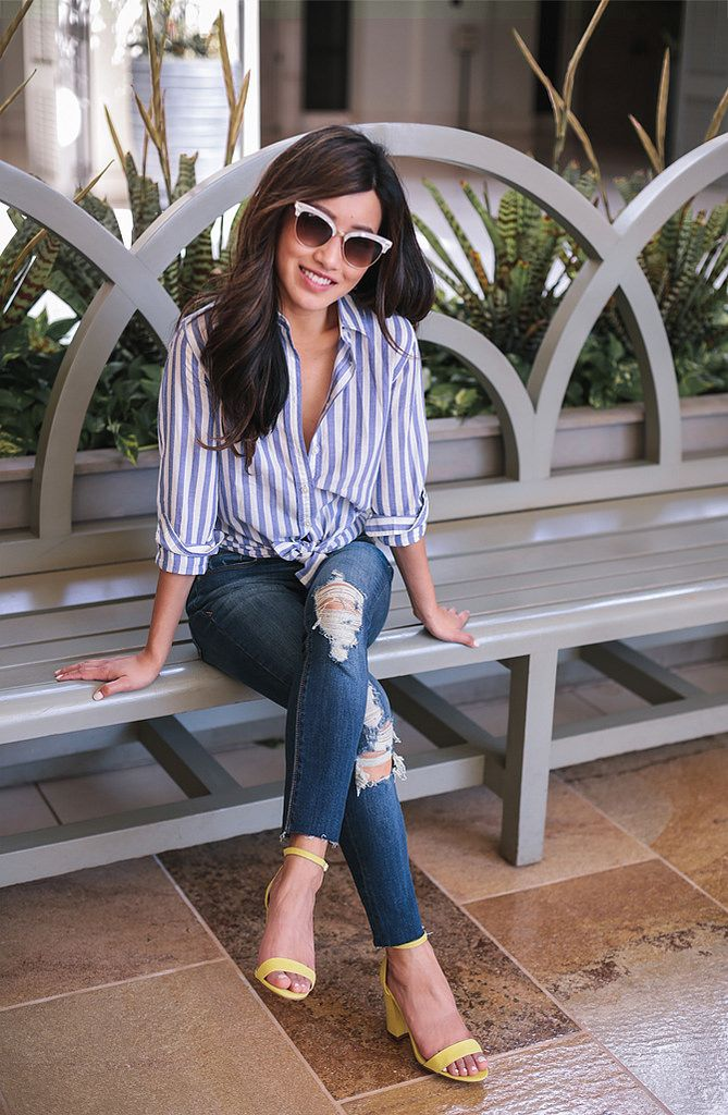 casual spring outfit // skinny jeans + striped button down shirt + yellow sandals