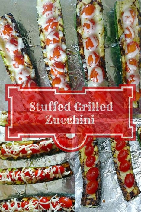 Grilled stuffed zucchini with grape tomatoes and mozzarella cheese @ allourway.com