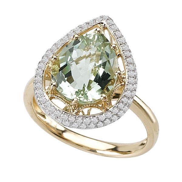 Tivolia Collection 14K Two Tone Pear-Shaped Green Quartz and Diamond Ring