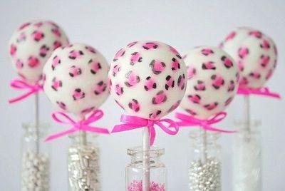 Pink leopard cake pops