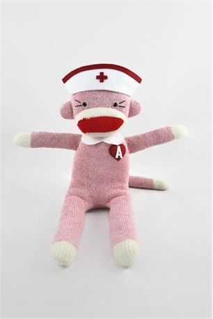 Nurses are the unsung heroes, so show the nurse in your life the appreciate s/he deserves. Every Red Heart Monkey is lovingly handmade and every stitch is unique, so no two monkeys are ever the same! You can make your monkey completely your own by choosing the color of your monkey (brown, pink or blue) and personalizing with your initials on its red heart. Our monkeys are made from a new pair of Rockford Red Heel socks and filled with premium non-allergenic polyester fiberfill in a smoke...