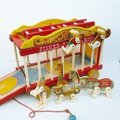 I collect old Fisher Price toys and this adorable toy circus is on my list.