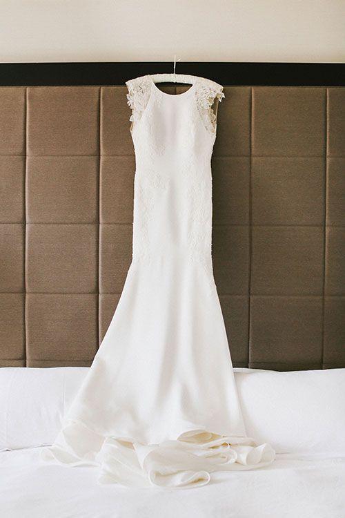 Industrial Atlanta, Georgia Wedding, Blythe and Ford, Silk Crepe Rivini Wedding Dress | Brides.com