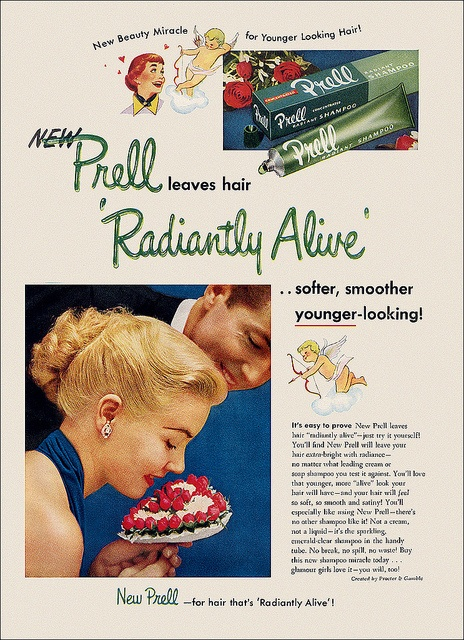 For radiantly alive hair...Prell Shampoo! #vintage #1950s #hair #ads