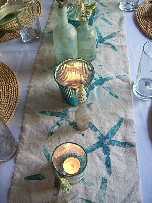 DIY Stamped starfish table runner - Boogieboard Cottage: