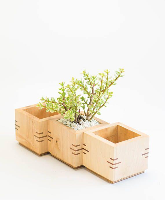 Wooden Planter Box Square Planter Succulent Planter Maple Etsy In 2020 Square Planters Wooden Planters Wooden Planter Boxes