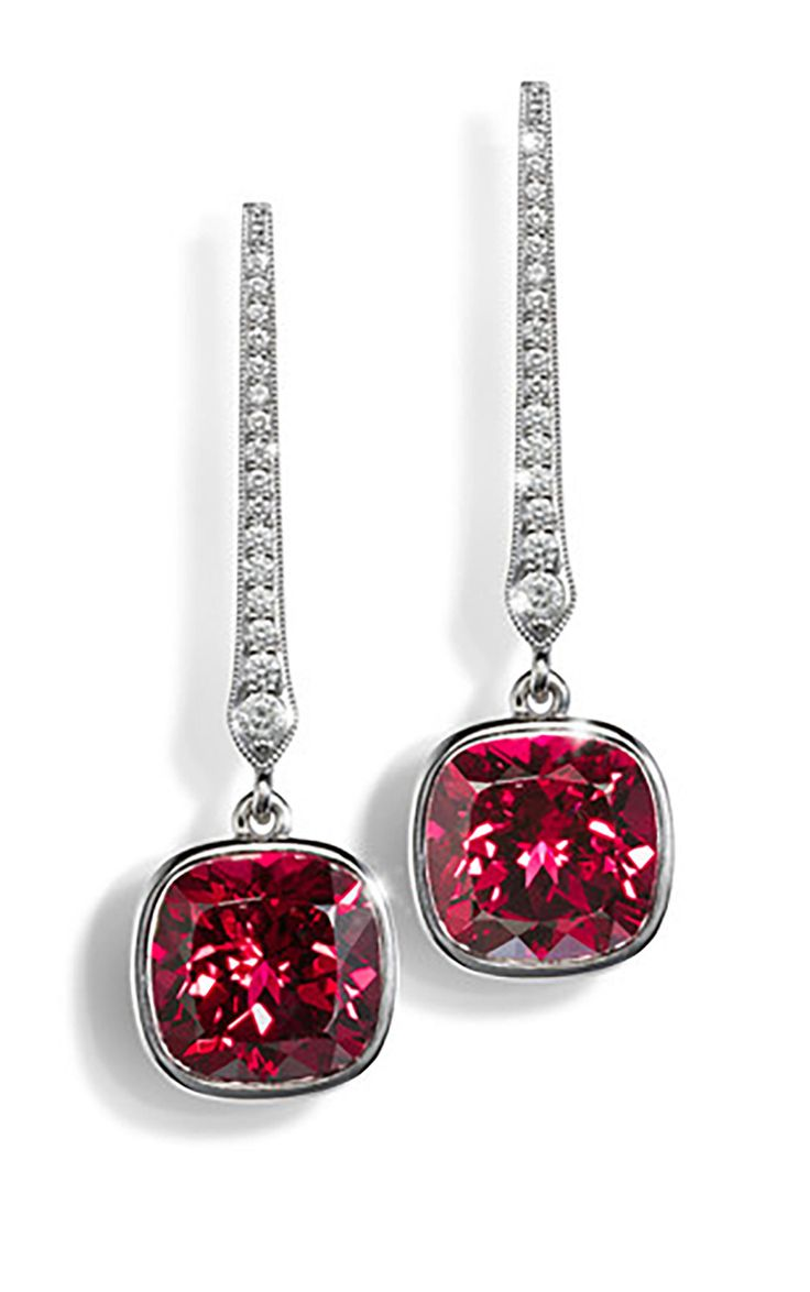 Earrings With Garnets And Diamonds