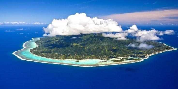 Rarotonga, the Cook Islands looks exactly like this as you fly in.