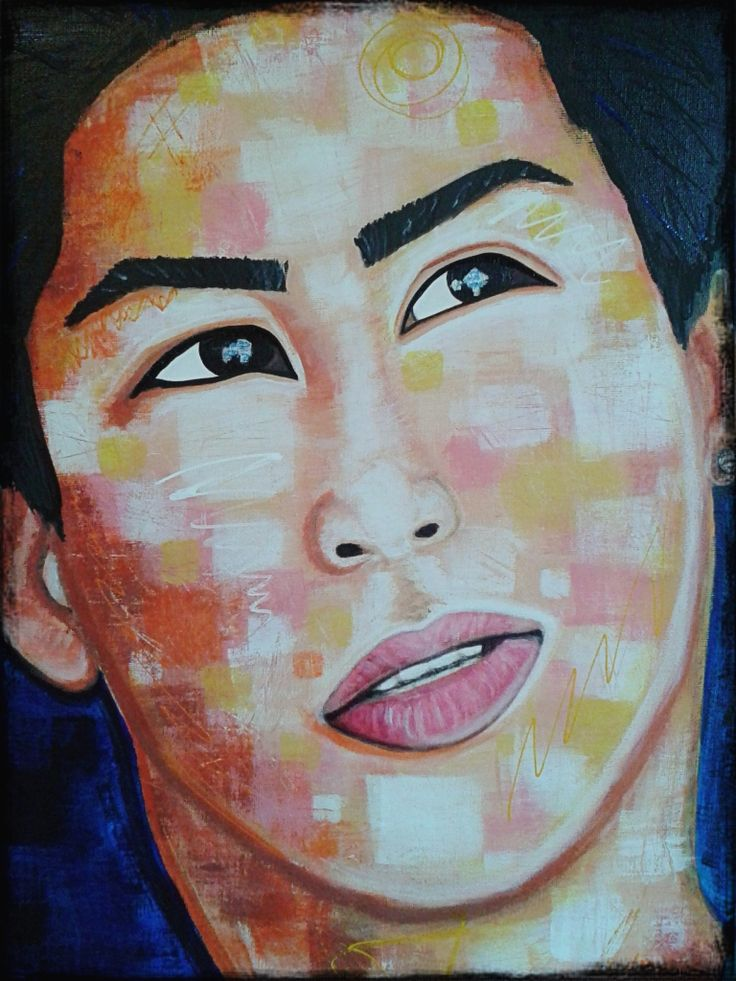 the dreamer by STEFANO 2015 (only the face)detail acrylic,portrait,painting,painter,artist, faces,paint,modernpainting,art,fineart