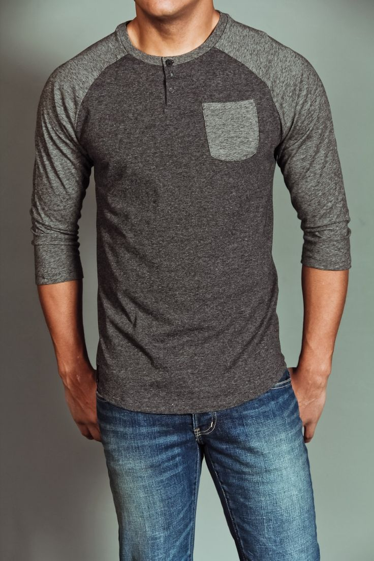 Lords & Liberties Hazed Henley Shirt Charcoal Heather $21.99