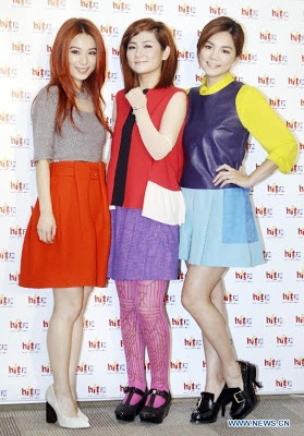 Members of the pop group S.H.E (Hebe, Selina, Ella) promotes their new album in Taipei  October 25, 2012. (Source: Xinhua)