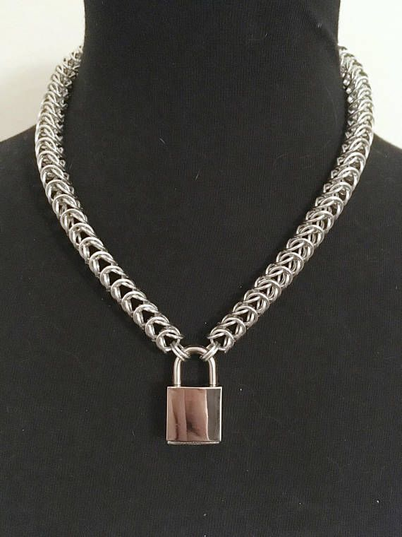 "1/3"" Aluminum Chainmail Collar Necklace - Fetish Kink Collar - Mens Womens Choker Collar - Sub Slave Locking Collar - Bondage Clothing Wear by JohnsChainmailShop from John's Chainmail Shop. Find it now at http://ift.tt/2rwyM62!"