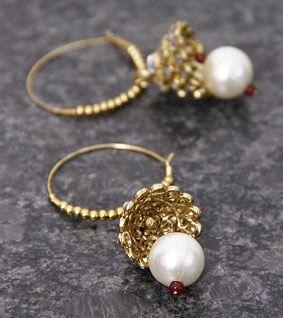 Golden Embellished Jhumki Earrings