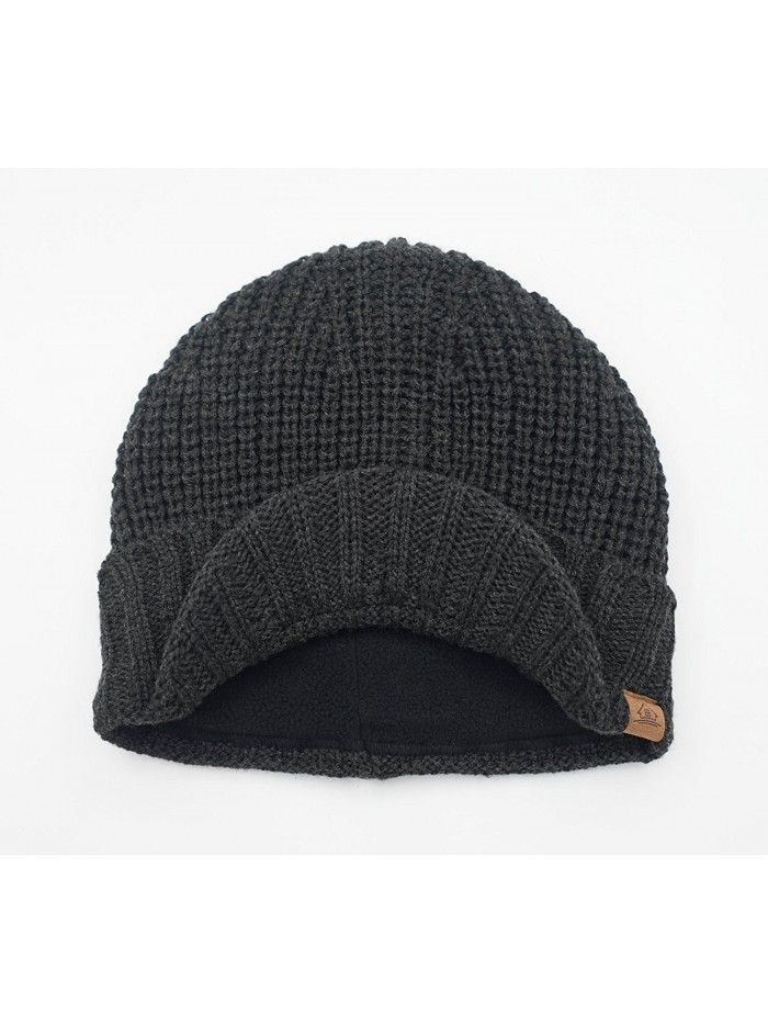47d0d2204b2f4 Hats & Caps, Men's Hats & Caps, Skullies & Beanies,Men's Outdoor newsboy Hat  Winter Warm Thick Knit Beanie Cap With Visor - Dark Gray - CT126Z654E1 #caps  ...