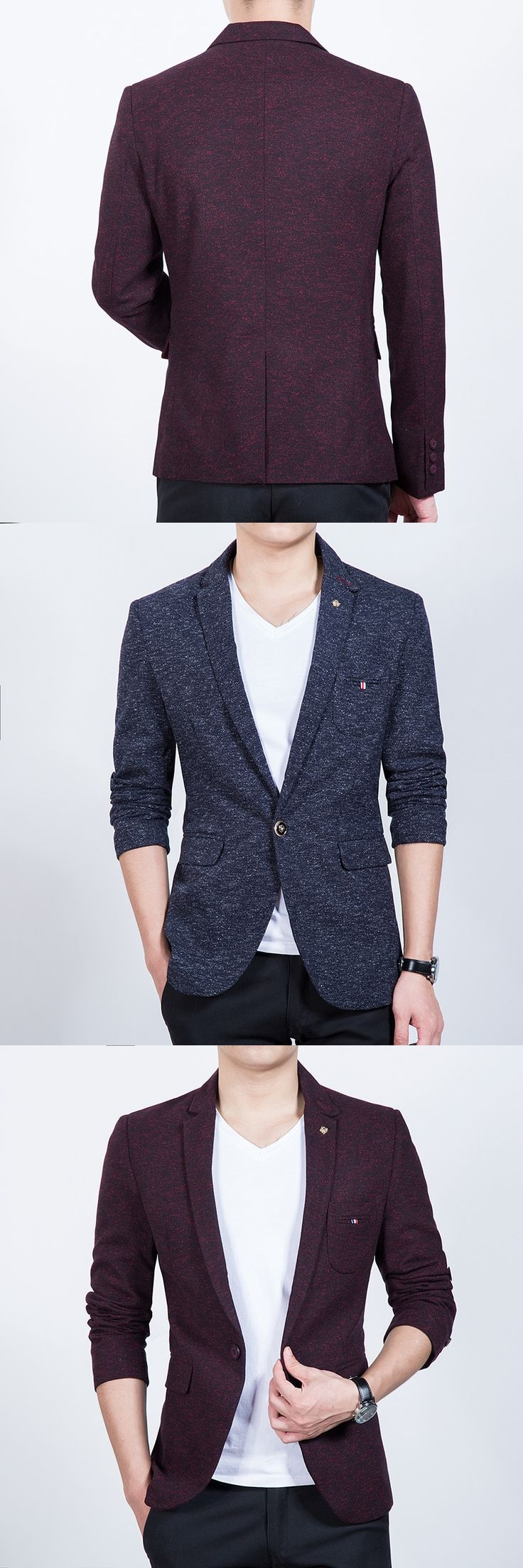 Mens casual blazer Slim fit red grey autumn winter one single breasted button Korean fashion drop ship new 2017 big size 4XL