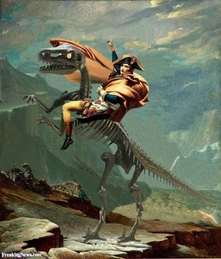 Napoleon Riding a Dinosaur Skeleton   Dinosaur   Pinterest ...