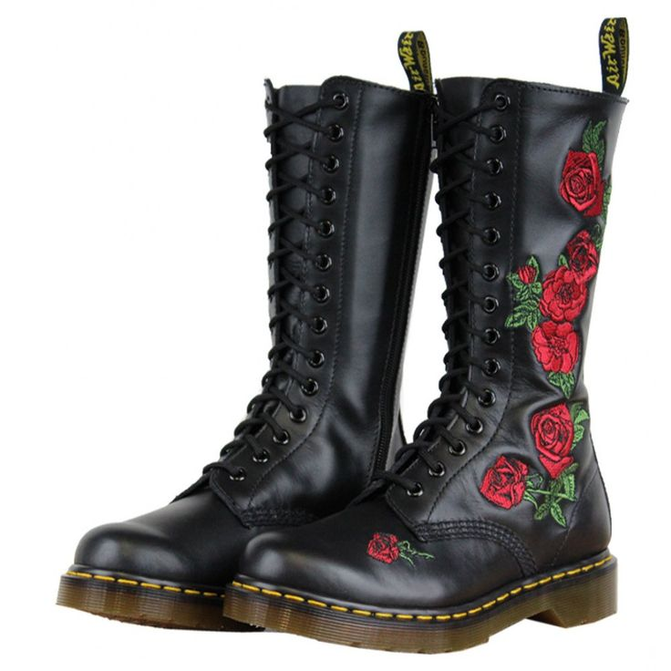 dr martens vonda black bottines en cuir noir de la marque dr oeillets roses. Black Bedroom Furniture Sets. Home Design Ideas