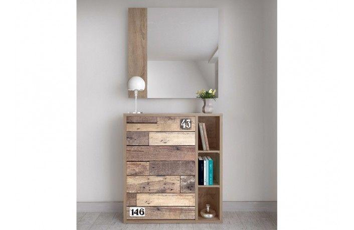 mueble zapatero serigrafiado madera vintage tonos pastel