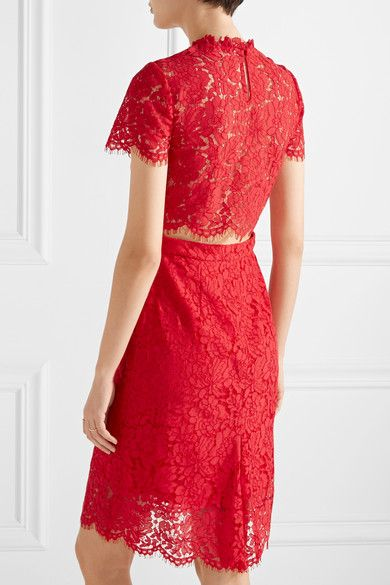 Diane von Furstenberg - Alma Cutout Corded Lace Dress - Red - US12
