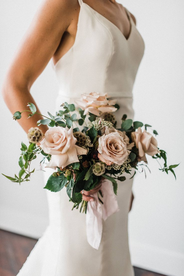 Blush and Greenery Wedding Bouquet