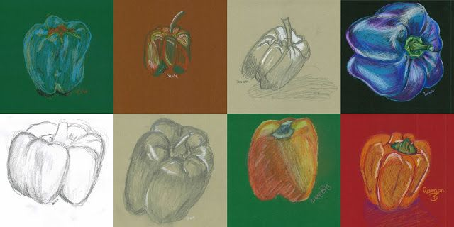 observational drawing of bell peppers- colored pencil on colored paper. Grade 9