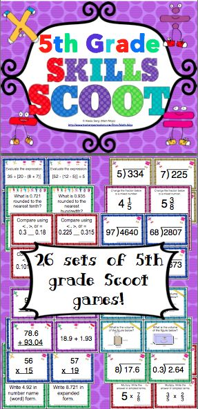5th Grade Math Skills Scoot Mega Bundle - Your students will have a blast working on 5th grade math skills with this set of 26 Scoot games! Scoot is a fast paced, whole class game that is simple to make and LOTS of fun! These Scoot cards are also great for centers and small groups! $