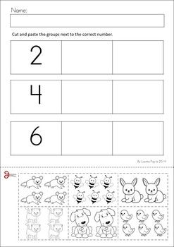 MEGA Math & Literacy Worksheets & Activities - Down on the Farm. 100 Pages in total!! A page from the unit: Sorting by number cut and paste activity.