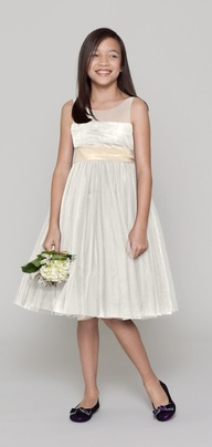 Older flower girl dress with color sash wiyh white