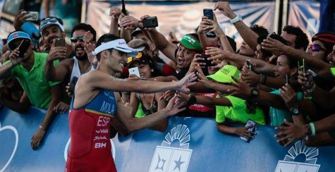Mario Mola campeón del mundo de triatlón por el desfallecimiento de Jonathan Brownlee en la meta
