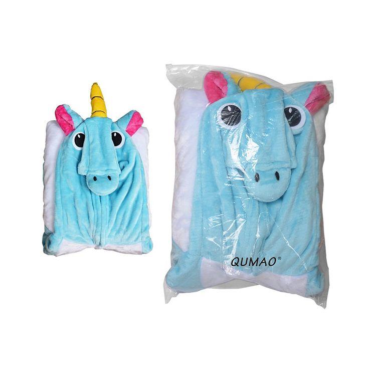 Combinaison Licorne Animaux Costume Cosplay Pyjama Kigurumi Grenouillère pour Adulte Unisexe Déguisement Détente Festival Carnaval (XL (Convenable 178cm-188cm), Bleu)