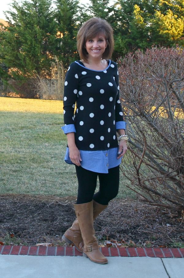Love the shirt and the polka dot blouse