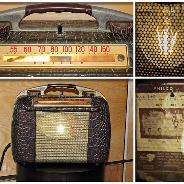 Sneak Peek Sunday!  Check out this #Philco #Model 49-605 #Portable #Tube #Radio #circa 1949.  This #music radio is now #repurposed into this #antique #OneofaKind #tablelamp.  The #faux #brown #leather case with #metal #handle reminds you of a #womens #purse.  The inside is #illuminated with a #Edison #LED #lightbulb.  This #upcycled #light is available #forsale at #Loftyideas4u #eBay & #Etsy #stores.