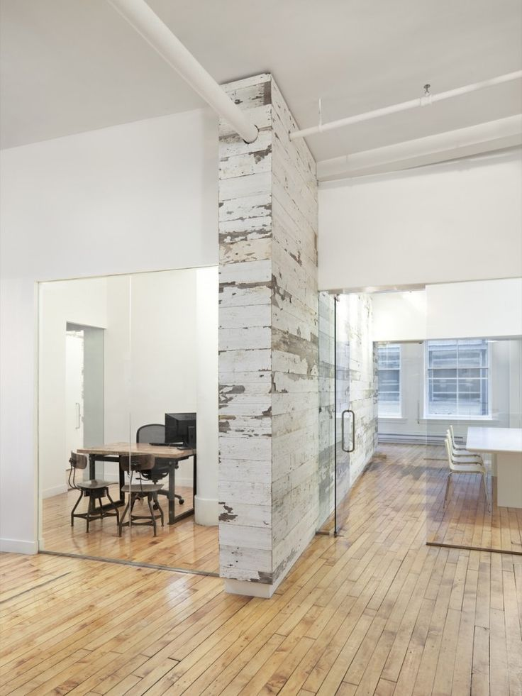 Wood and white - great office space
