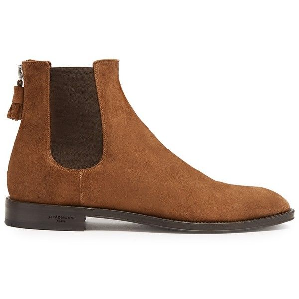 Givenchy Suede chelsea boots ($676) ❤ liked on Polyvore featuring men's fashion, men's shoes, men's boots, brown multi, shoes, mens brown suede boots, mens suede shoes, mens brown chelsea boots, mens brown shoes and mens zipper shoes