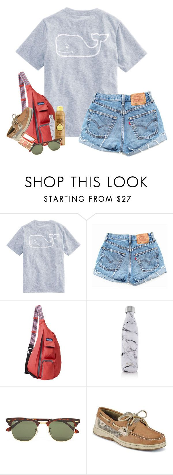 """Cant wait for spring break!☀️"" by hannyjep on Polyvore featuring Vineyard Vines, Levi's, Kavu, S'well, Sun Bum, Ray-Ban and Sperry"