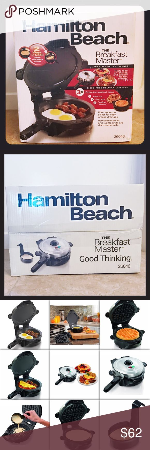 NEW Hamilton Beach 26046 The Breakfast Master NEW / NEVER OPENED Hamilton Beach 26046 The Breakfast Master Skillet and Waffle Maker  2 ways to cook Versatile skillet meals - heats food on the top and bottom for fast cooking Pour spout on skillet for easy grease drainage Removable skillet and waffle grids are dishwasher safe Adjustable browning hamilton beach Other