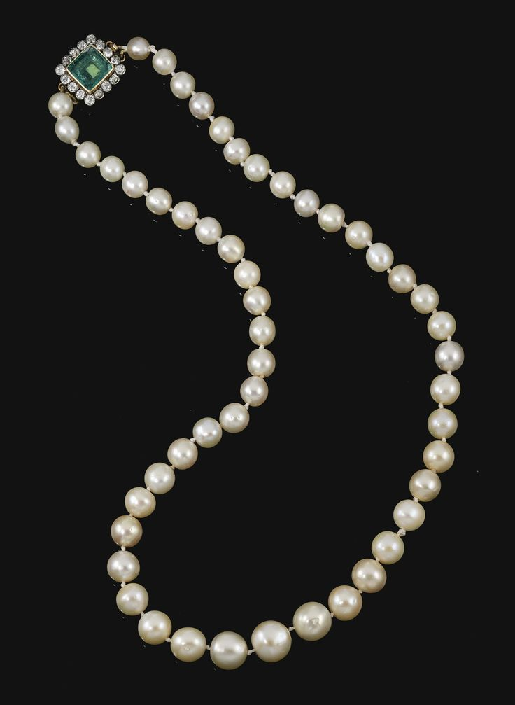 PROPERTY OF AN IMPORTANT ITALIAN NOBLE FAMILY Natural pearl, emerald and diamond necklace Designed as a graduated row of natural pearls, to a clasp set with a rectangular faceted emerald within a border of circular-cut diamonds.