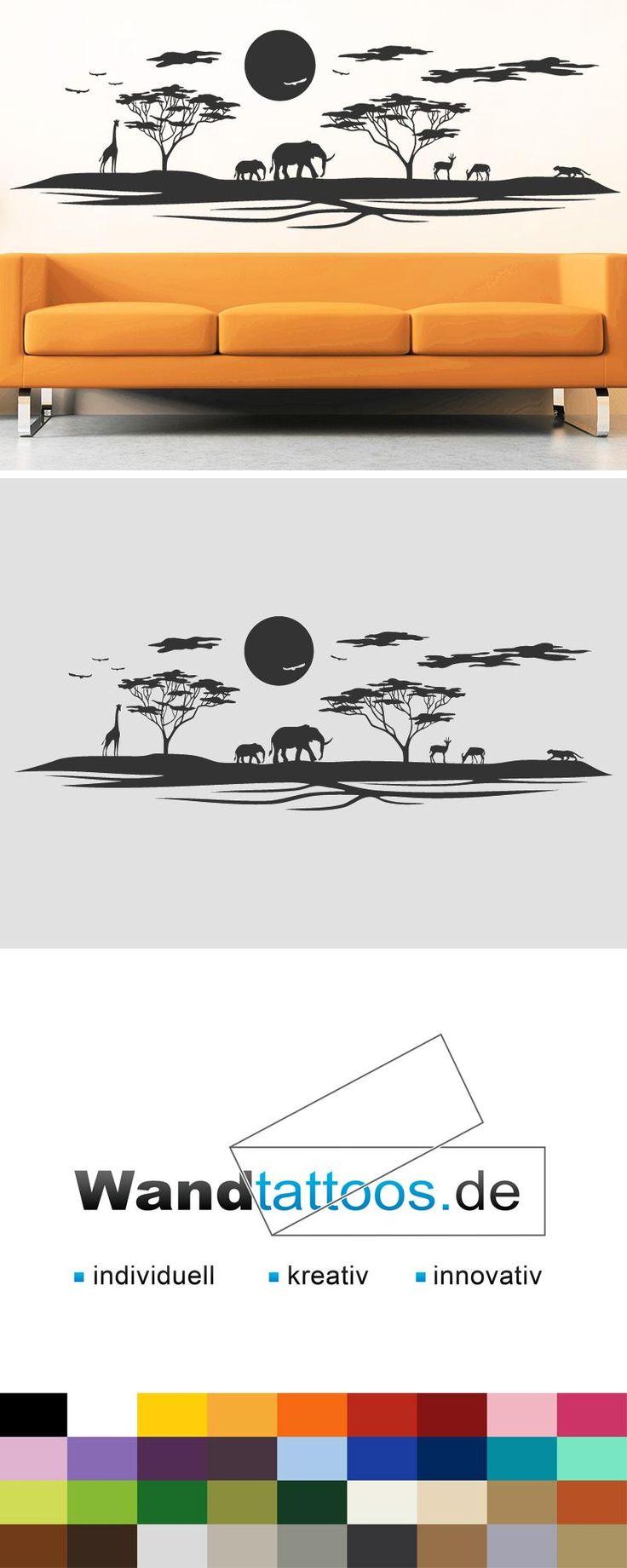 Wandtattoo Landschaft in Afrika als Idee zur individuellen Wandgestaltung. Einfach Lieblingsfarbe und Größe auswählen. Weitere kreative Anregungen von Wandtattoos.de hier entdecken!