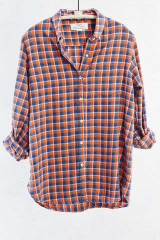 Orange and Blue Plaid Button Down Shirt
