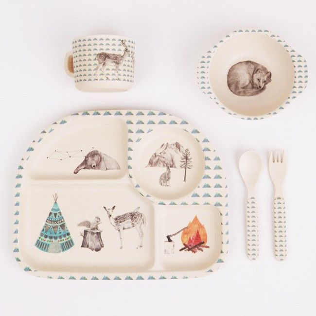 Forest Feast 5 piece Dinner Set by Mae. Made from bamboo