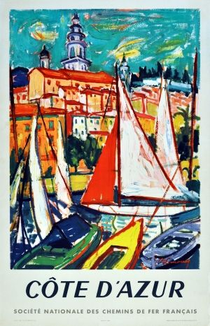 Cote d'Azur SNCF, 1965 - original vintage poster by Lemoine listed on AntikBar.co.uk