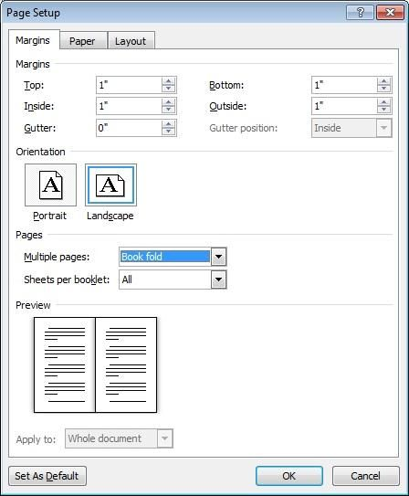 Booklet settings in the Page Setup dialog box MS Word