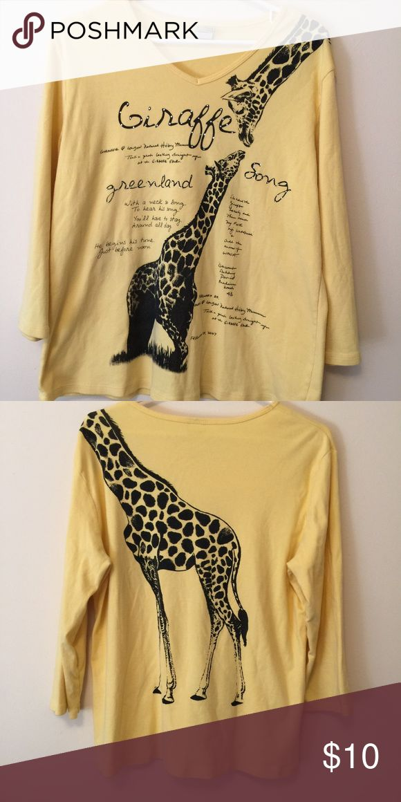 Jess & Jane giraff shirt Super cute giraffe shirt by Jess & Jane. Made in the USA! Shirt is in perfect condition. Has some rhinestone embellishments on it. Size XL Tops